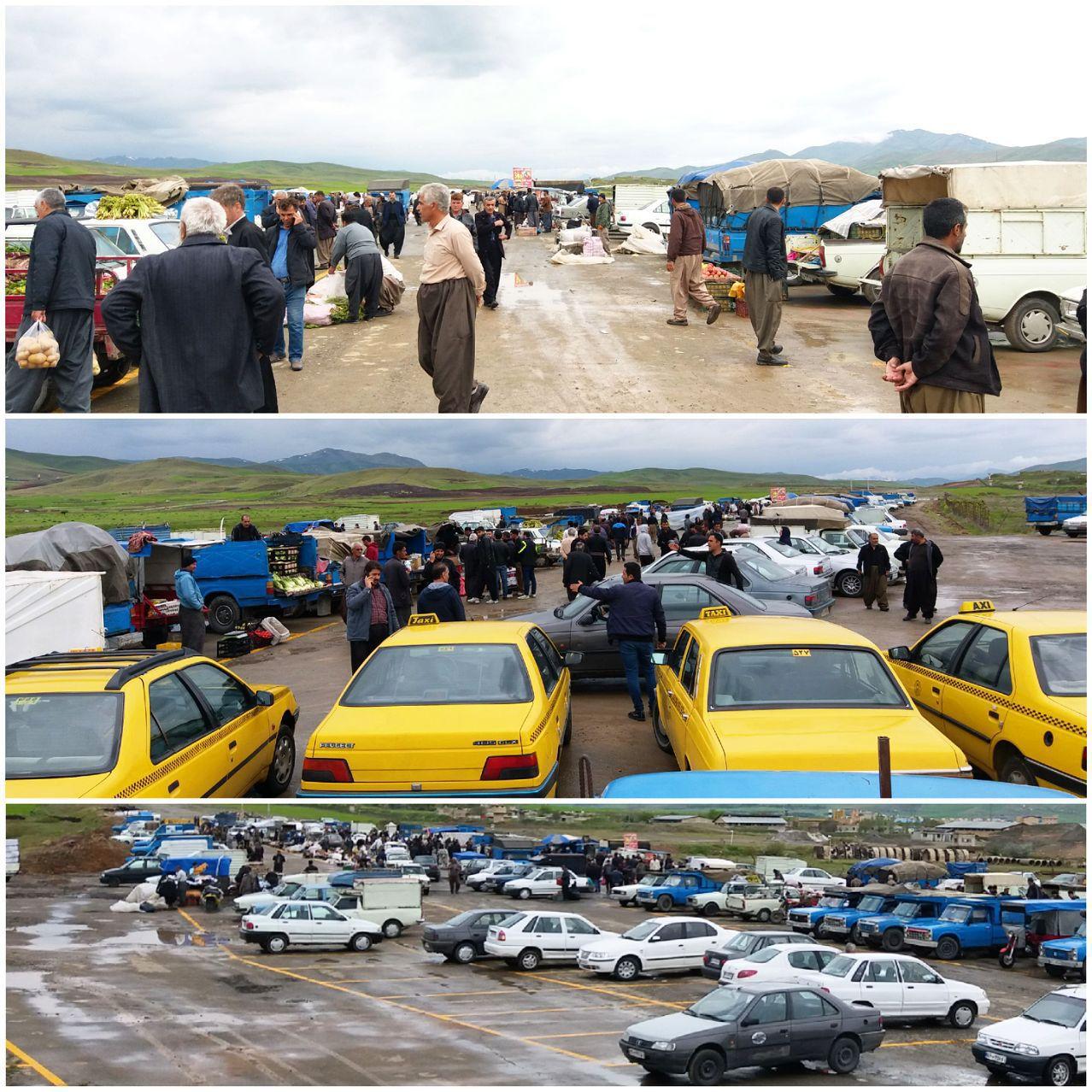 شروع بکار جمعه بازار در محل جدید زیر سایه باران و تردید/ ضرورت تسریع در ساماندهی محل+ تصاویر