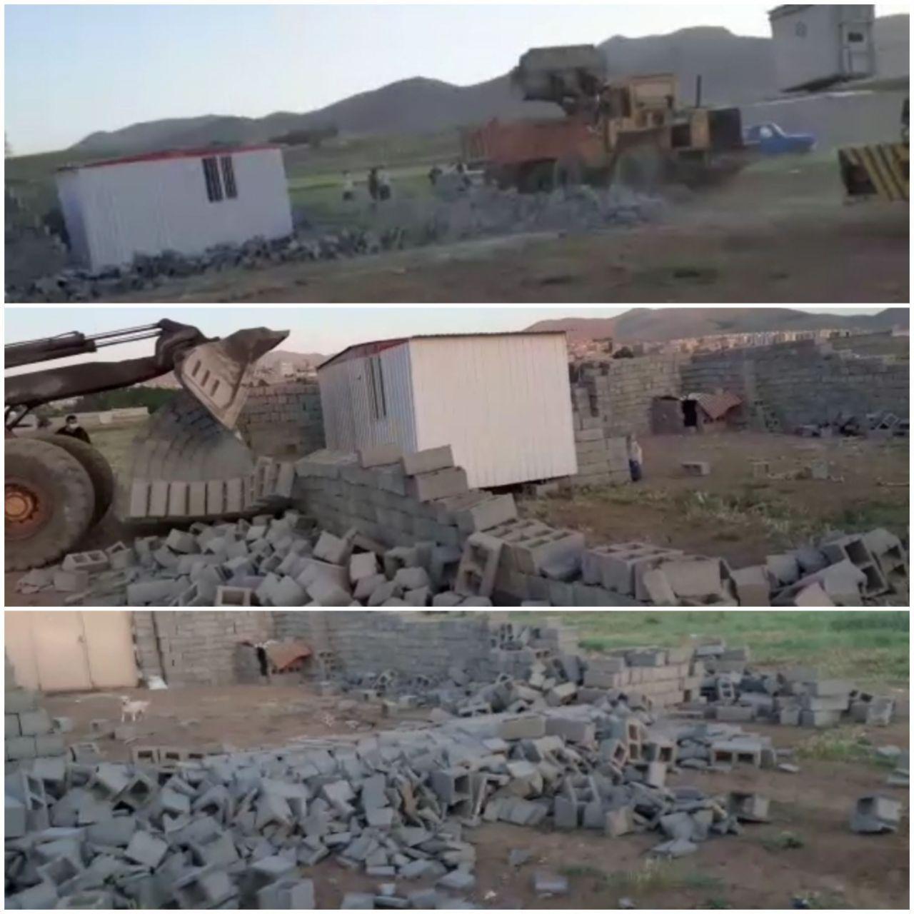 تخریب چند بنای نیمه کاره در اطراف شهر سقز